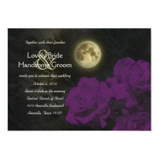 """El casarse de color morado oscuro de los rosas del invitación 5"""" x 7"""""""