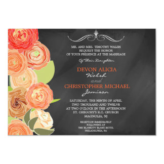 """El casarse de conexión en cascada de las flores de invitación 4.5"""" x 6.25"""""""