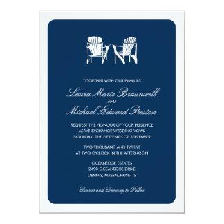 El casarse de dos sillas de Adirondack Invitación 12,7 X 17,8 Cm