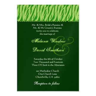 """El casarse de la cal y de la cebra del verde caqui invitación 5"""" x 7"""""""
