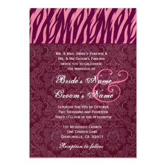 """El casarse de la cebra del vino del rosa y de invitación 5"""" x 7"""""""