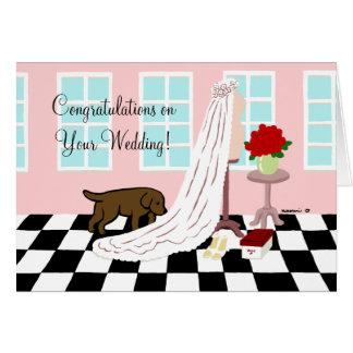 El casarse de la enhorabuena de Labrador del choco Felicitaciones