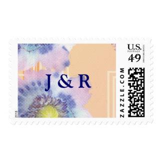 El casarse de las amapolas de la acuarela sello postal