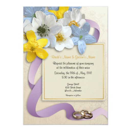 """El casarse de las flores de la anémona invita - al invitación 5"""" x 7"""""""