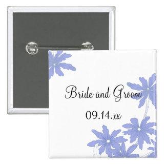 El casarse de las margaritas azules del bígaro pin cuadrada 5 cm
