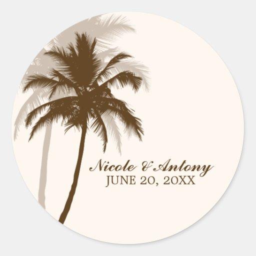 El casarse de las palmeras etiquetas redondas