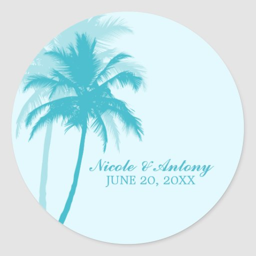El casarse de las palmeras etiqueta redonda
