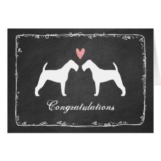 El casarse de las siluetas de Terrier irlandés le Tarjeta De Felicitación