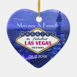 El casarse de Las Vegas Adorno Navideño De Cerámica En Forma De Corazón