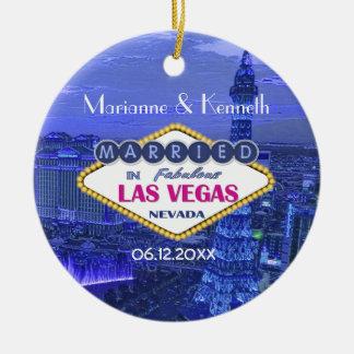 El casarse de Las Vegas Adorno Navideño Redondo De Cerámica