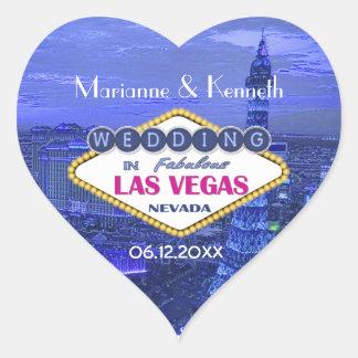 El casarse de Las Vegas Pegatina En Forma De Corazón