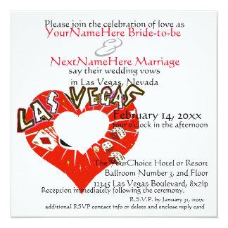 """El casarse de Las Vegas y corazón del rojo de la Invitación 5.25"""" X 5.25"""""""