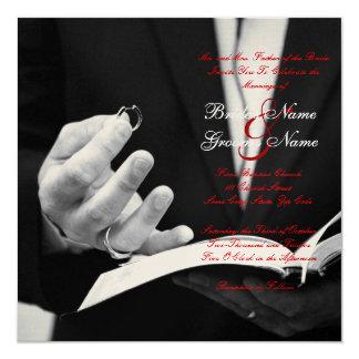 """El casarse de los anillos de bodas+invitación invitación 5.25"""" x 5.25"""""""