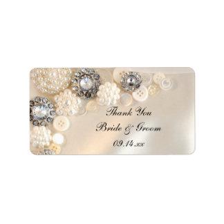 El casarse de los botones del diamante de la perla etiquetas de dirección