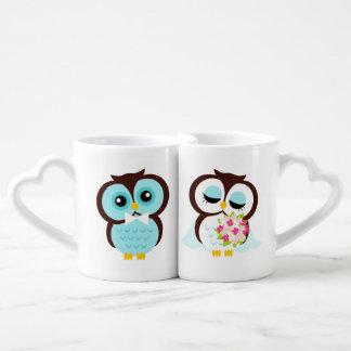 El casarse de los búhos de novia y del novio set de tazas de café