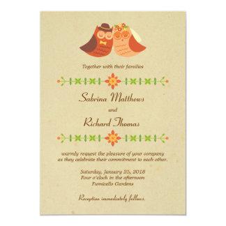 El casarse de los búhos del Lovebird Invitación 12,7 X 17,8 Cm