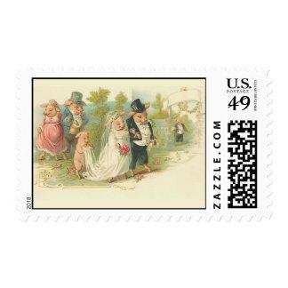 El casarse de los cerdos del vintage sello