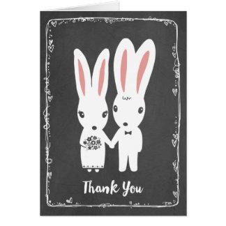 El casarse de los conejos de conejito le agradece tarjeta de felicitación