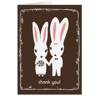 El casarse de los conejos de conejito le agradece tarjeta pequeña