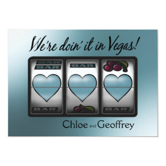 """El casarse de los corazones del bote de Las Vegas Invitación 5"""" X 7"""""""