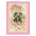 El casarse de los gatos de la tarjeta del vintage