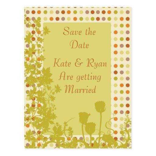 El casarse de los lunares y de las flores del otoñ postales