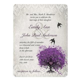 El casarse de los pájaros del vintage del árbol de invitación personalizada