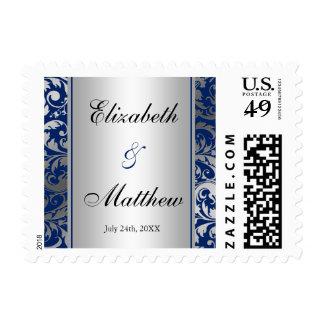 El casarse de los remolinos del damasco de los timbres postales