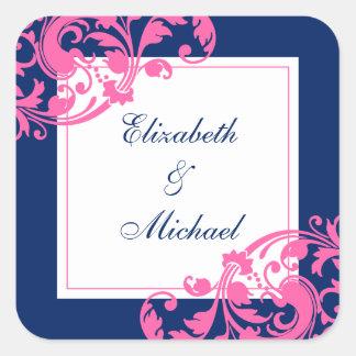 El casarse de los remolinos del Flourish de los Pegatina Cuadradas Personalizada