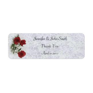 El casarse de los rosas rojos le agradece etiqueta de remite