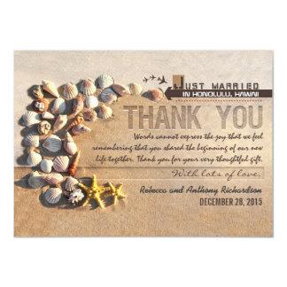 el casarse de los seashells de la playa le invitación 11,4 x 15,8 cm