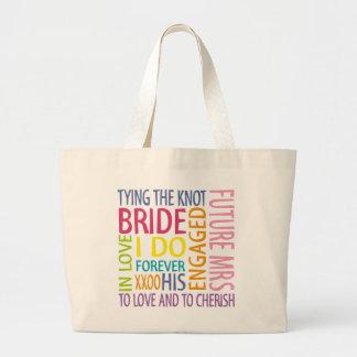 El casarse de los sentimientos de la novia bolsa de tela grande