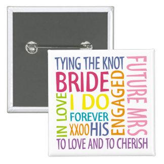 El casarse de los sentimientos de la novia pin cuadrada 5 cm