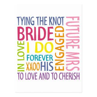 El casarse de los sentimientos de la novia postal