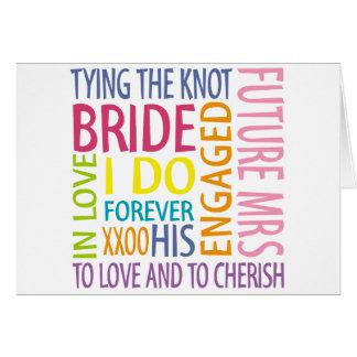 El casarse de los sentimientos de la novia tarjeta de felicitación
