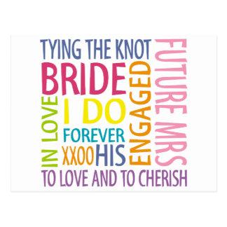 El casarse de los sentimientos de la novia tarjeta postal