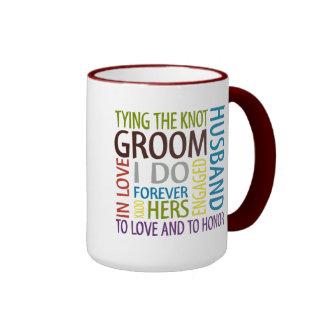 El casarse de los sentimientos del novio taza de dos colores