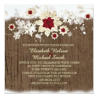 El casarse de madera del navidad de la nieve invitaciones personales