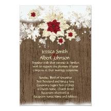 """El casarse de madera del navidad de la nieve invitación 5"""" x 7"""""""