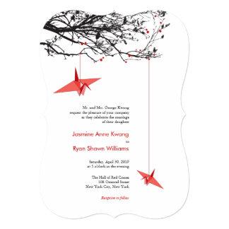"""El casarse de papel colgante moderno de las grúas invitación 5"""" x 7"""""""