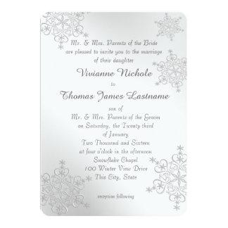 """El casarse de plata de los copos de nieve invitación 5"""" x 7"""""""