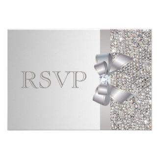 El casarse de RSVP de las lentejuelas de plata de Invitacion Personalizada