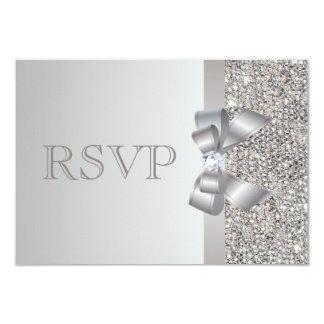 """El casarse de RSVP de las lentejuelas de plata, Invitación 3.5"""" X 5"""""""