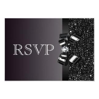 """El casarse de RSVP de las lentejuelas negras, del Invitación 3.5"""" X 5"""""""