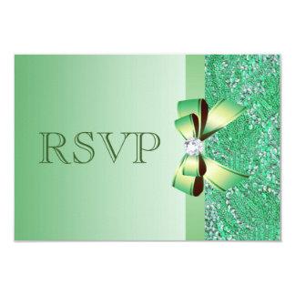 El casarse de RSVP de las lentejuelas verdes, del Invitación 8,9 X 12,7 Cm