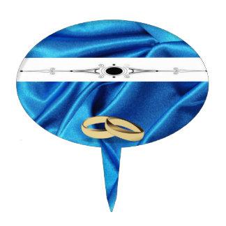 El casarse de seda azul profundo del efecto decoración de tarta