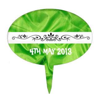 El casarse de seda del efecto de la verde lima ele decoraciones para tartas