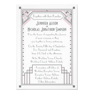 """El casarse del art déco de Gatsby del rosa color Invitación 5"""" X 7"""""""