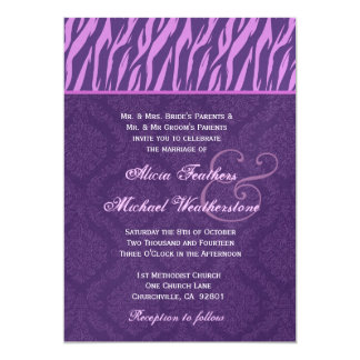 """El casarse del damasco de la púrpura real y de la invitación 5"""" x 7"""""""