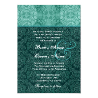 El casarse del damasco del trullo metálico invitación 12,7 x 17,8 cm